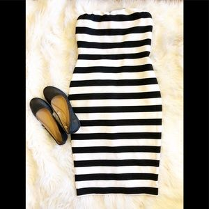 B&W Striped Strapless Express Dress